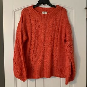 S/M coral orange chunky knit sweater - Fable